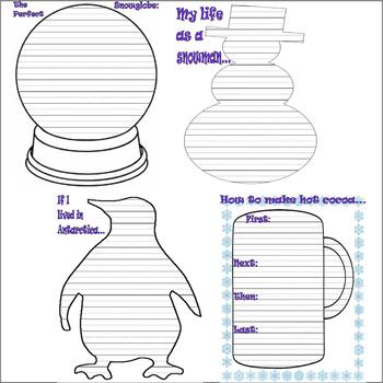 Winter Activity : Writing Prompts & Journaling :  LINED PAPER : 15 page Packet