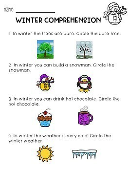 All About Winter Adapted Book & Comprehension Quiz