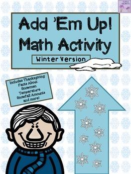 Winter Add 'Em Up! Math Activity