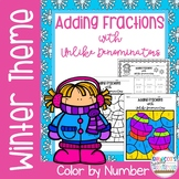 Adding Fractions with Unlike Denominators Color by Number-Winter Theme