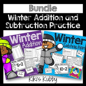 Winter Adding and Subtracting BUNDLE: Worksheets, Task Cards, and Write the Room