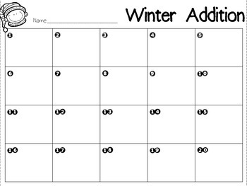 Winter Addition-2 Digit Addition Task Cards (No Regrouping)