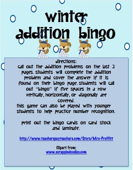 Winter Addition Bingo