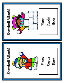 Winter Addition Card Game: Snowball Attack! (Adding Double Digits No Regrouping)