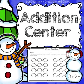 Winter Addition Center- Kindergarten or First Grade