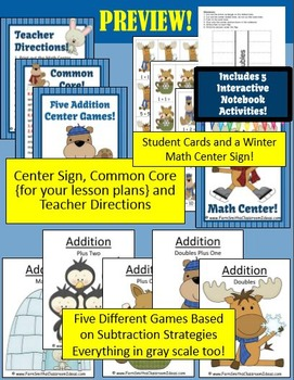 Winter Addition Centers and Interactive Notebook Activities