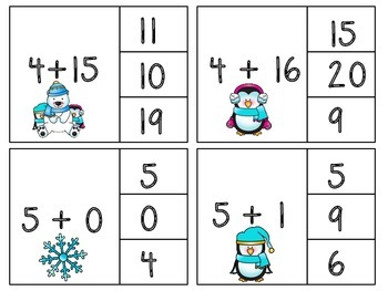 Winter! Addition Clip Cards!
