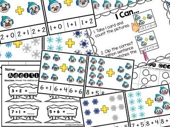 Winter Addition Clip Cards - Emoji & Snowflake Addition Clip Center
