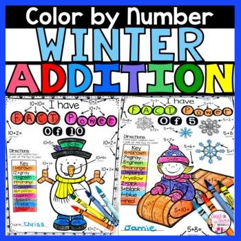 Winter Addition Color by Number