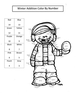 Winter Math Addition Color by Numbers