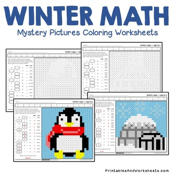 Winter Math Addition, Winter Addition Mystery Pictures Coloring Worksheets