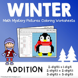 Winter Addition Worksheets, Adding Mystery Picture Coloring Sheets