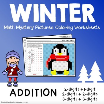 Winter Math Addition, Winter Addition Mystery Pictures Col