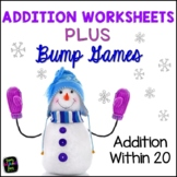 Addition Worksheets - Bump Games - Winter Theme
