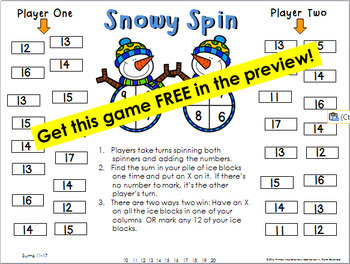 First Grade Winter Addition One Page Games