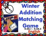 Winter Addition Matching Game using Rekenrek - Math Center -English Numbers 1-10