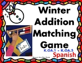 Winter Addition Matching Game using Rekenrek - Math Center -Spanish Numbers 1-10