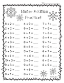 Winter Addition Math Practice Worksheet Pack - 3 Leveled Sheets!