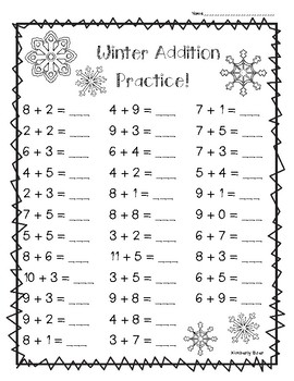 winter addition math practice worksheet pack 3 leveled sheets. Black Bedroom Furniture Sets. Home Design Ideas