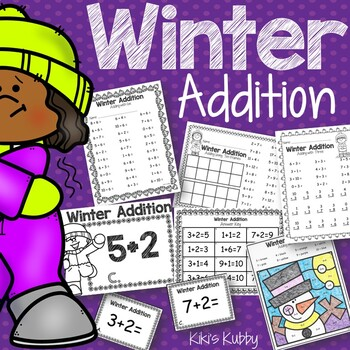 Winter Addition Practice: Addition Worksheets, Task Cards, Write the Room