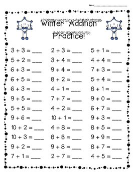 Winter Addition Practice Pack!--3 levels