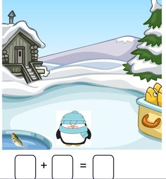Winter Addition Stories Smartboard (snowman, bear, polar bear, penguin)