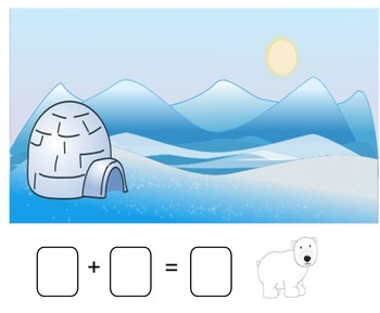 Winter Addition Stories Smartboard (snowman, bear, polar bear, penguin)