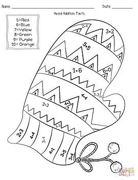 winter addition subtraction coloring worksheets by teach tall tpt. Black Bedroom Furniture Sets. Home Design Ideas