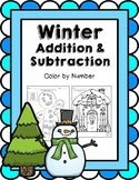 Winter Addition & Subtraction Coloring Worksheets