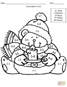 Winter Addition & Subtraction Coloring Worksheets by Teach Tall | TpT