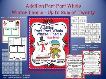 Winter Addition & Subtraction Part Part Whole Mat and No Prep Printables Bundle