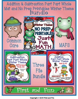 Winter Addition & Subtraction Part Part Whole Mat and No Prep Printables Bundle