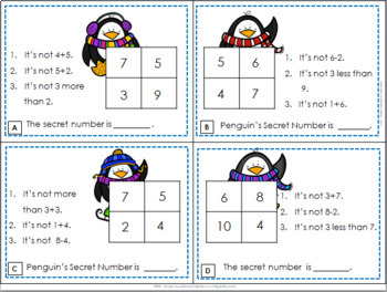 Winter Addition & Subtraction Mystery Number Task Cards