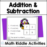 Winter Addition & Subtraction Math Riddle Task Cards