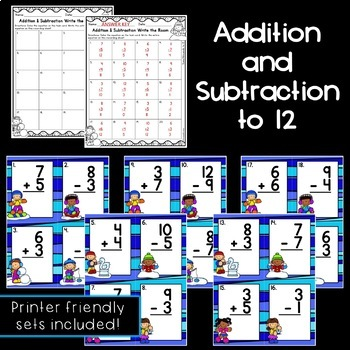 Winter Addition/Subtraction Vertical Equations Write the Rooms [2 sets]
