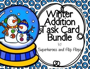 Winter Addition Task Card Bundle
