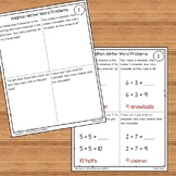 Winter Addition Word Problems Numbers 1 - 10 for Kindergarten and 1st Grade