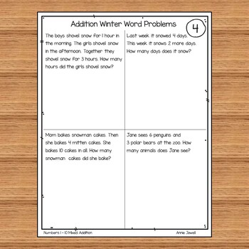 Winter Addition Word Problems Numbers 1 - 10 for Kindergarten and ...
