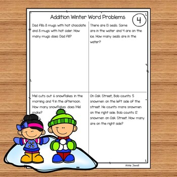 Addition Word Problems Numbers 1 - 20 for Kindergarten and 1st Grade