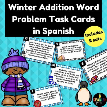 Winter Addition Word Problems In Spanish Problemas De Cuento Sumas Invierno
