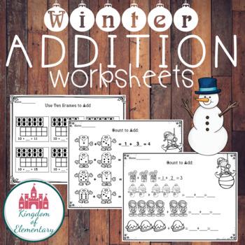 Winter Addition Worksheets. BLACK&WHITE