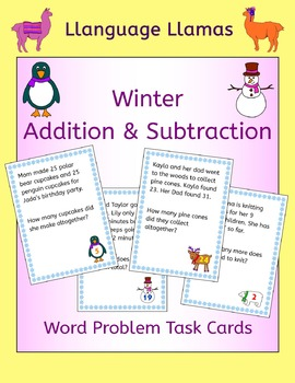 Winter Addition and Subtraction Word Problem Task Cards