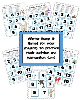 Winter Addition and Subtraction Bump It Games for Grade 1