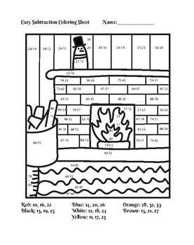 Winter Addition and Subtraction Color By Number Worksheet Bundle