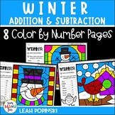Addition & Subtraction Worksheets || Winter Math Color by
