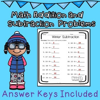 Winter Addition and Subtraction Easy Prep Worksheets