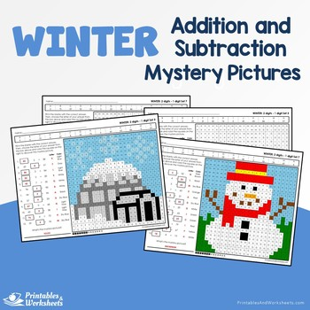 Winter Addition and Subtraction Mystery Pictures