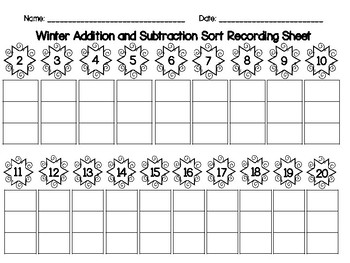 Winter Addition and Subtraction Sort