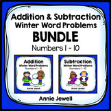 Winter Addition and Subtraction Word Problems Kindergarten and 1st Grade