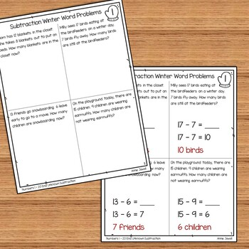 winter addition and subtraction word problems numbers 1 20 for 1st grade. Black Bedroom Furniture Sets. Home Design Ideas